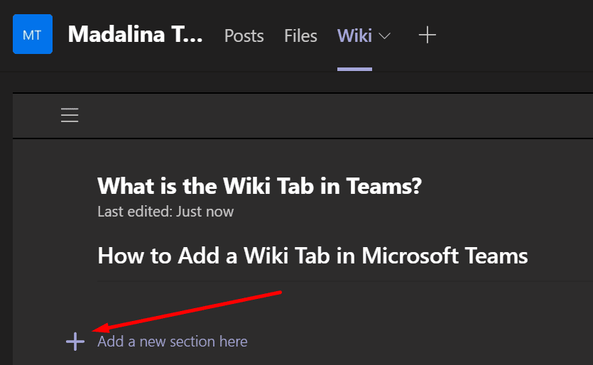 add new wiki tab section