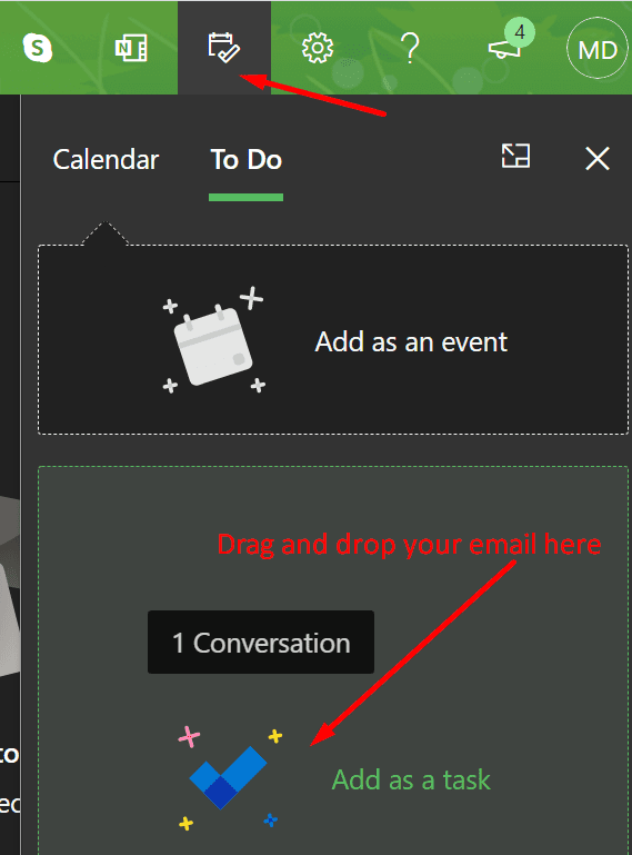 add outlook email as task