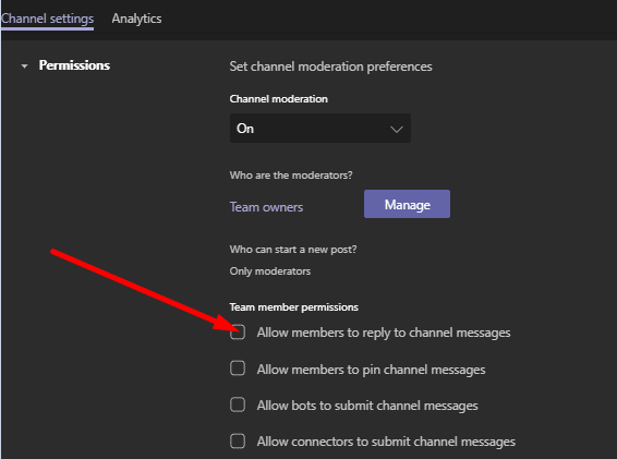 allow members to reply to channel messages