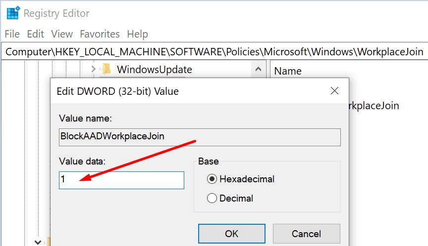blockAADWorkplaceJoin windows 10