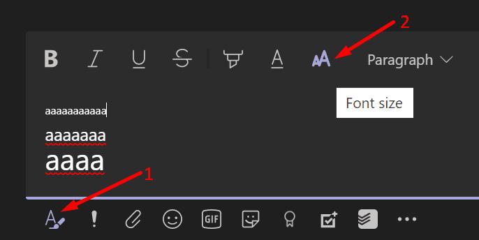 change message font size microsoft teams