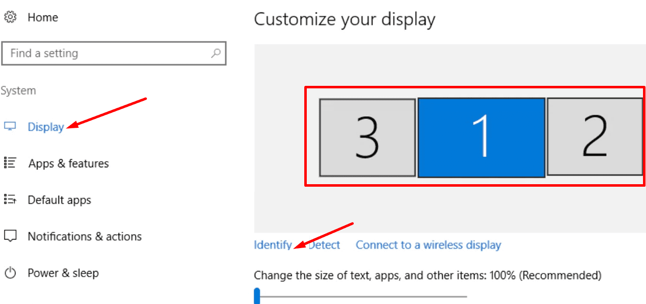 change monitor order windows 10