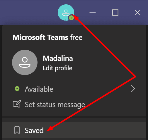 check saved messages teams