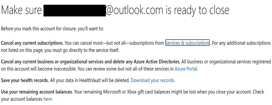 close microsoft account
