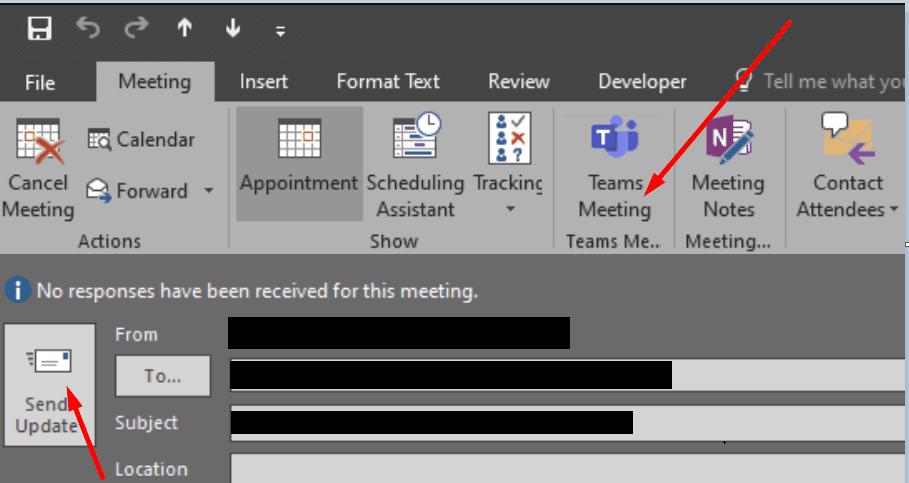 convert existing outlook meeting to teams meeting