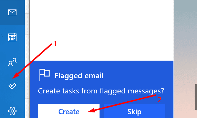 create tasks from flagged emails outlook app