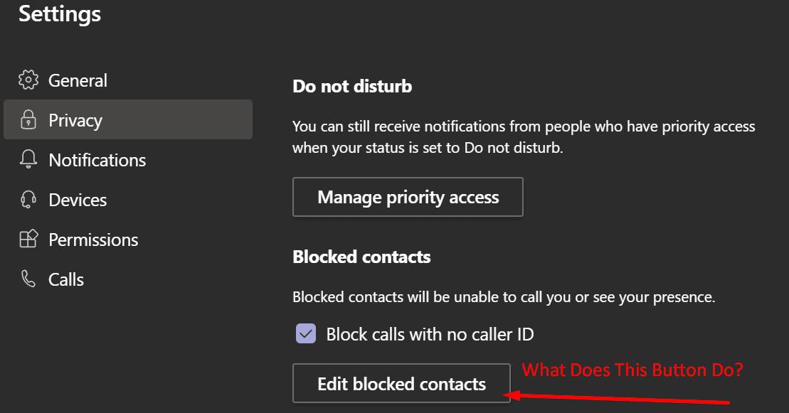 edit blocked contacts microsoft teams