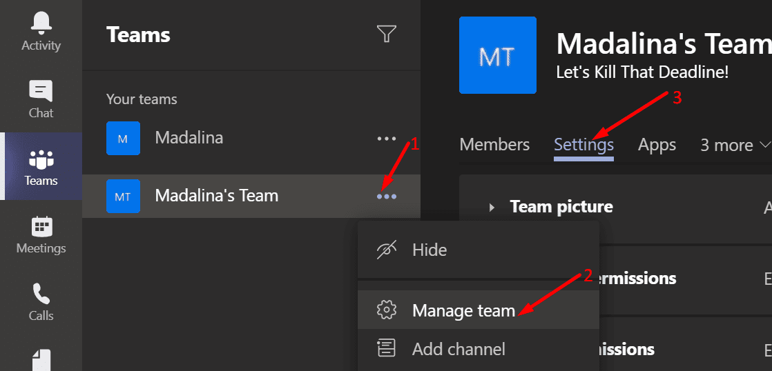 edit team settings microsoft teams