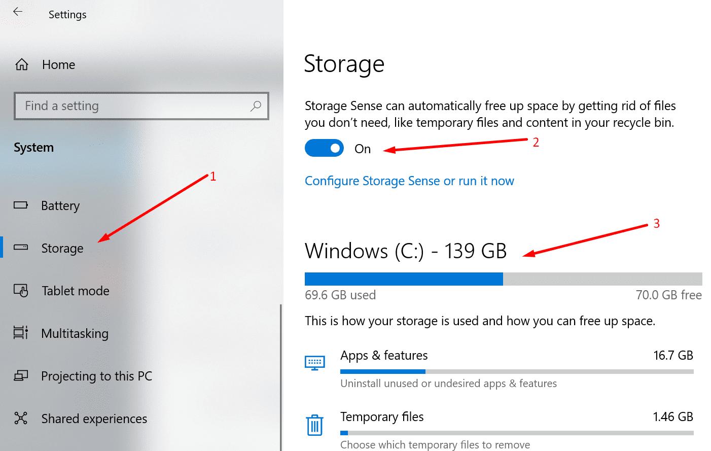 enable storage sense windows 10