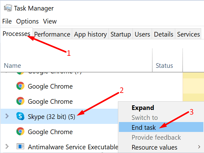 end task skype task manager