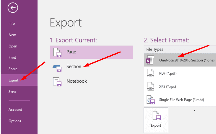 export onenote section