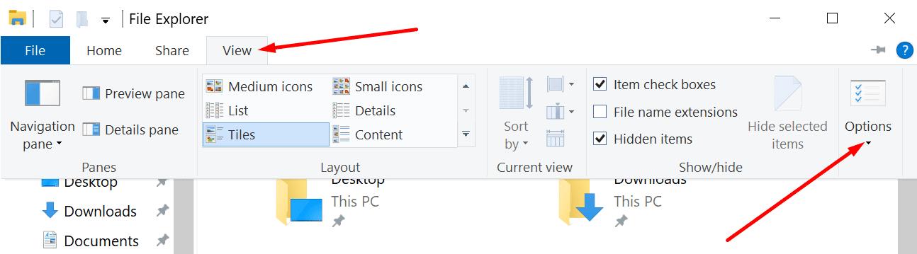 file explorer view options