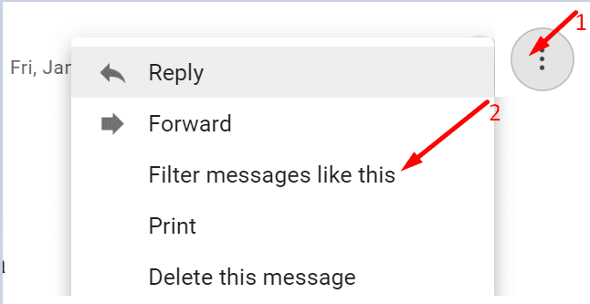 filter message like this gmail