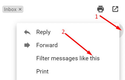filter messages like this gmail