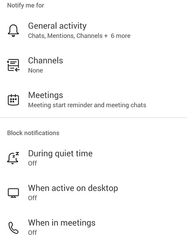 general notification settings teams