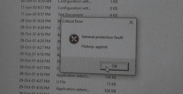 general protection fault error