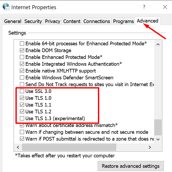 internet options enable TLS