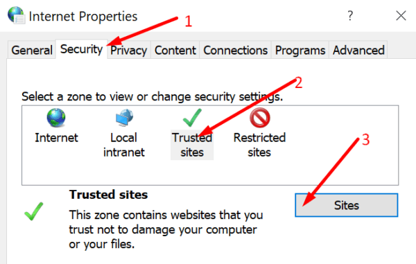 internet properties trusted sites