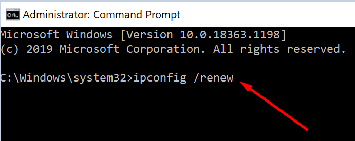 ip config renew command prompt