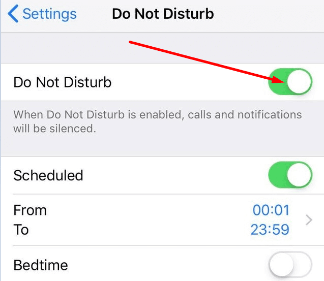 iphone do not disturb settings