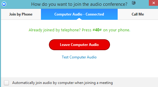 leave computer audio zoom