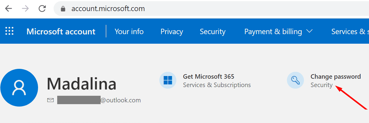 microsoft account change password