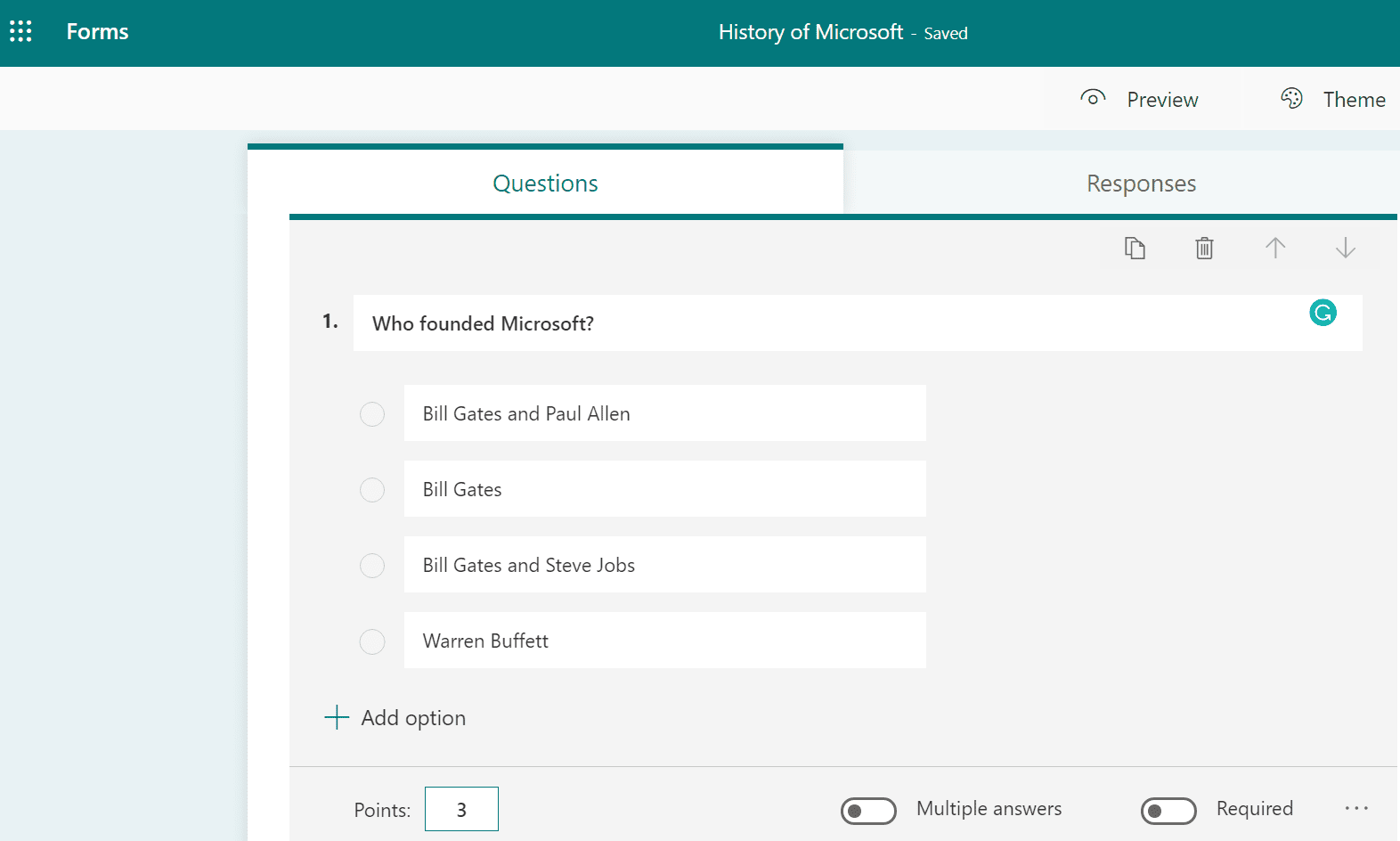 microsoft forms quiz questions