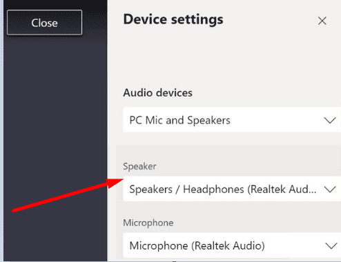 microsoft teams device settings during meeting