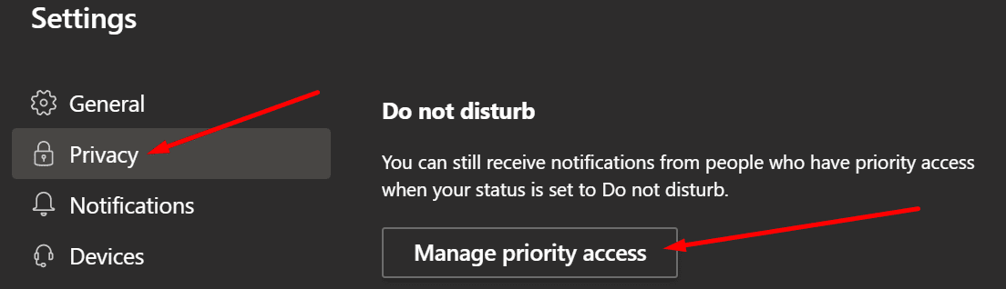 microsoft teams do not disturb manage priority access