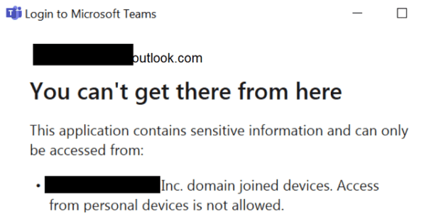 microsoft teams error can't get there from here