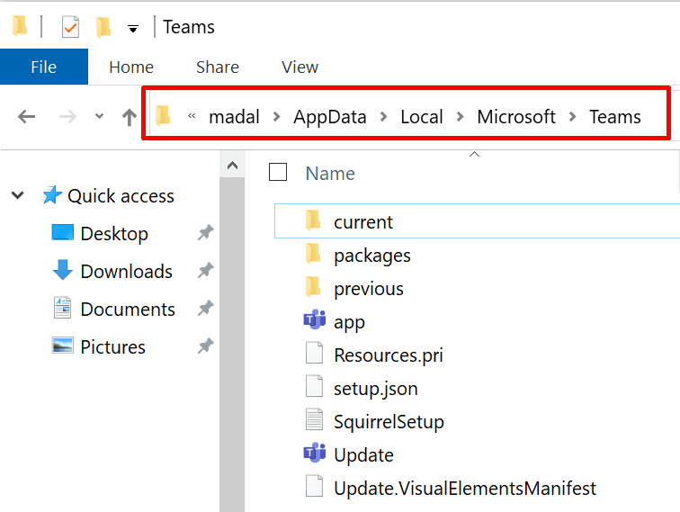 microsoft teams local folder