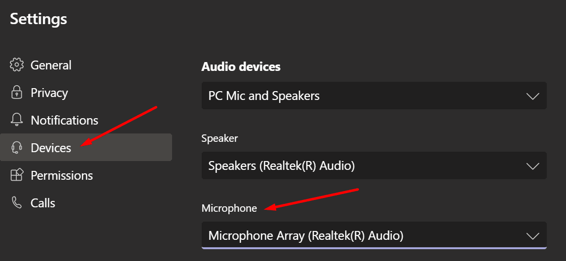 microsoft teams microphone settings