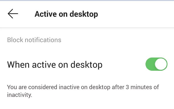 microsoft teams notifications when active on desktop