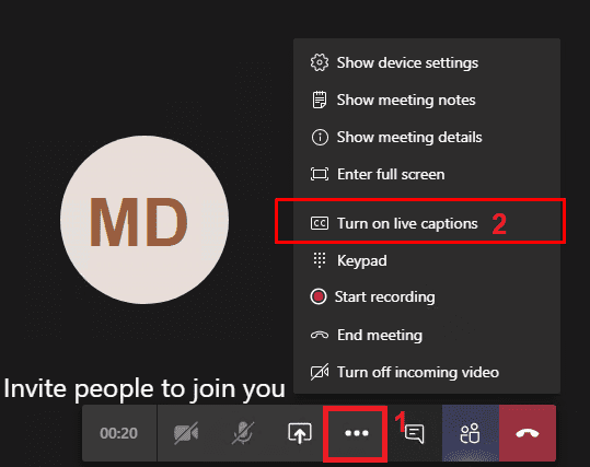 microsoft teams enable live captions