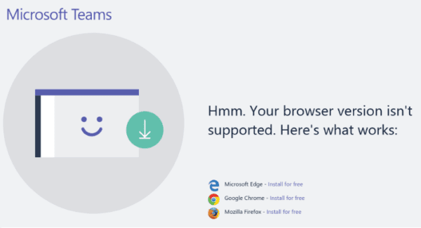 Fix Microsoft Teams Browser Not Supported