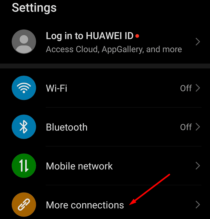 more connections android settings