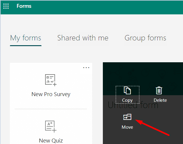 move option microsoft forms