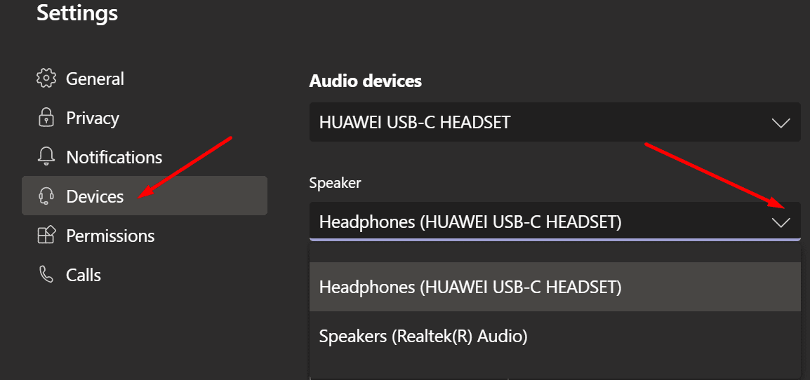 ms teams audio devices settings