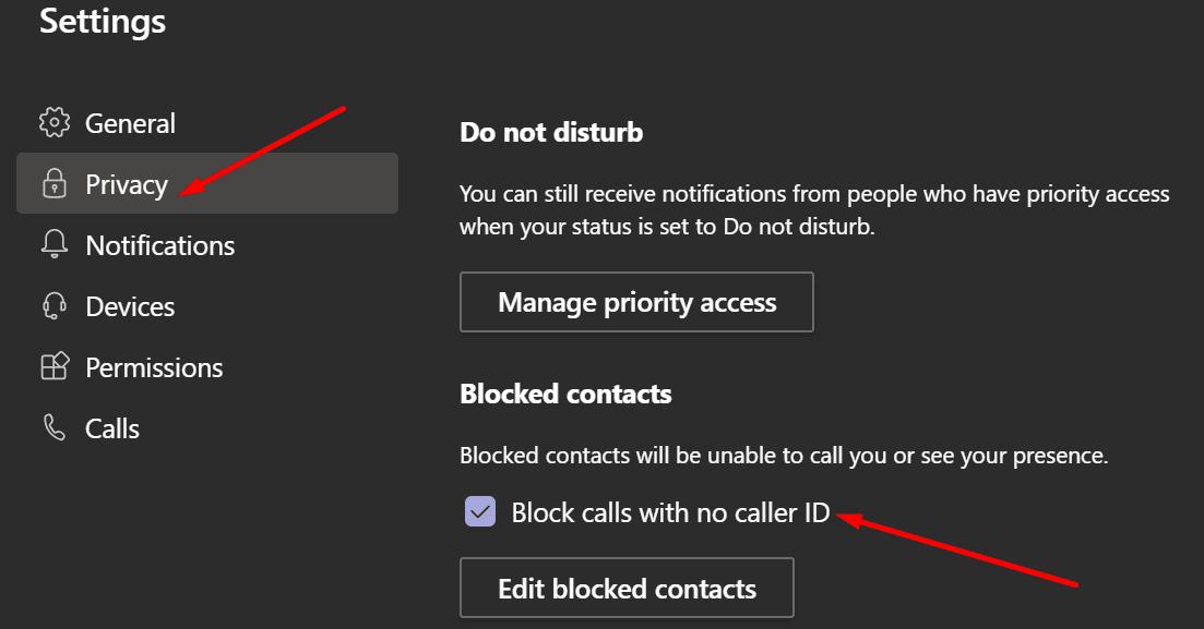 ms teams block calls with no caller ID