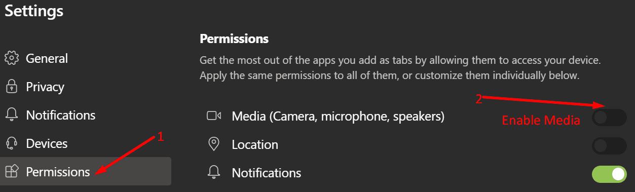 ms teams enable media permissions