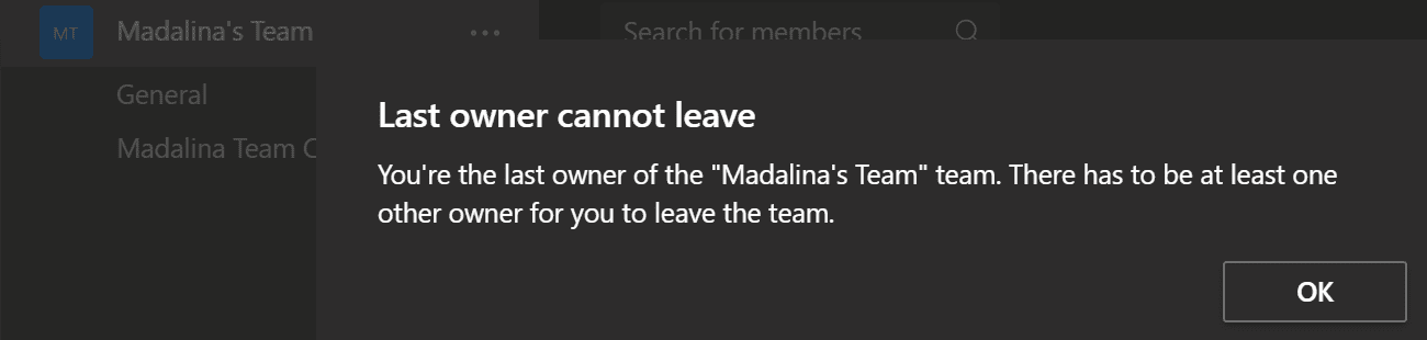 ms teams last owner cannot leave