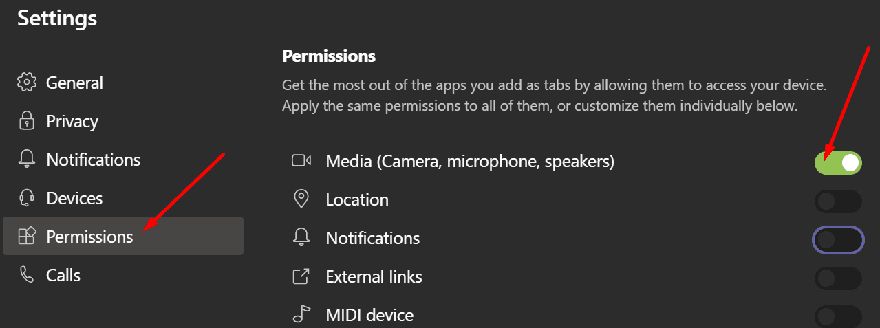 ms teams media permissions