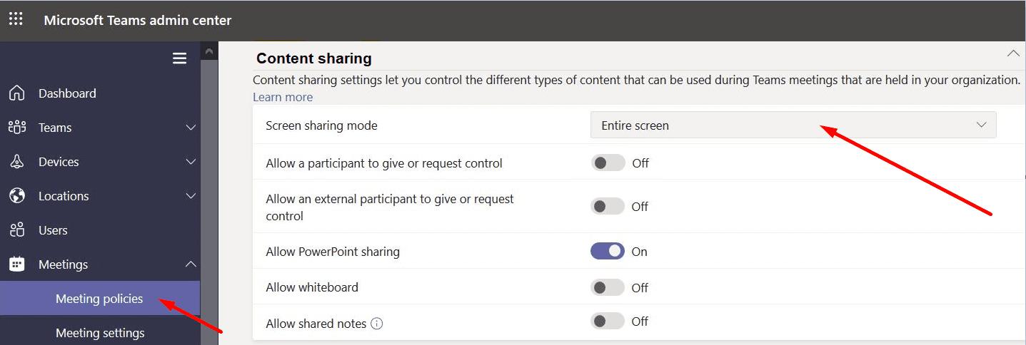 ms teams screen sharing mode settings