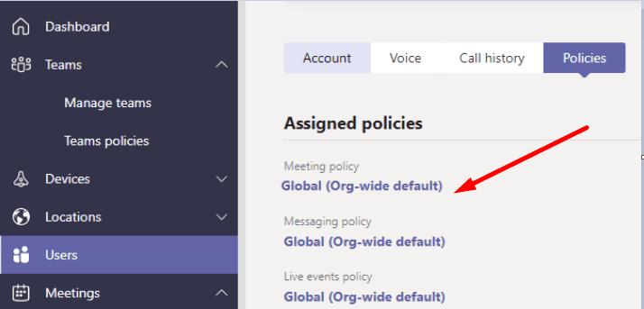 ms teams users policies