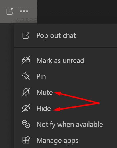 mute and hide user microsoft teams