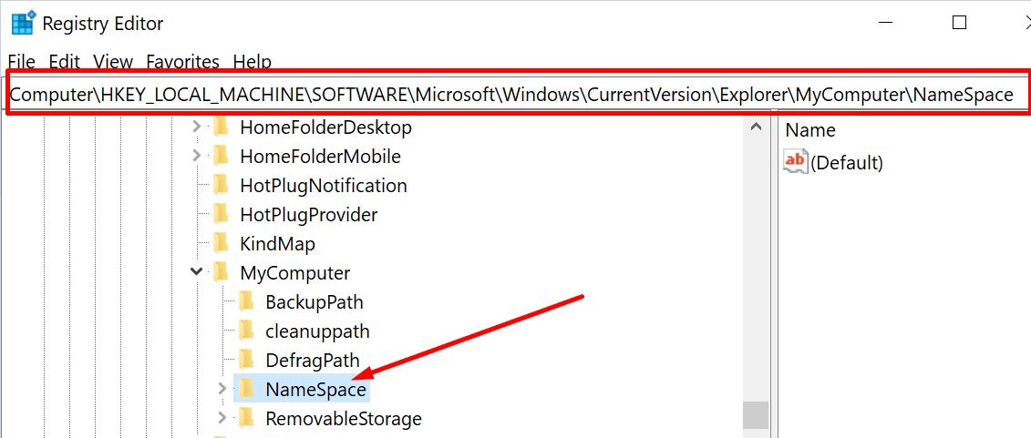 namespace key registry editor windows 10