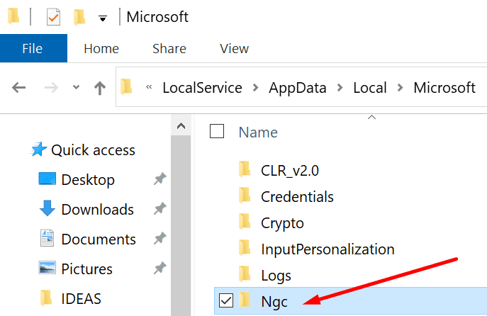 ngc folder windows 10