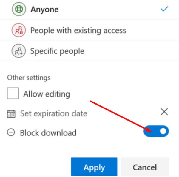 onedrive block download