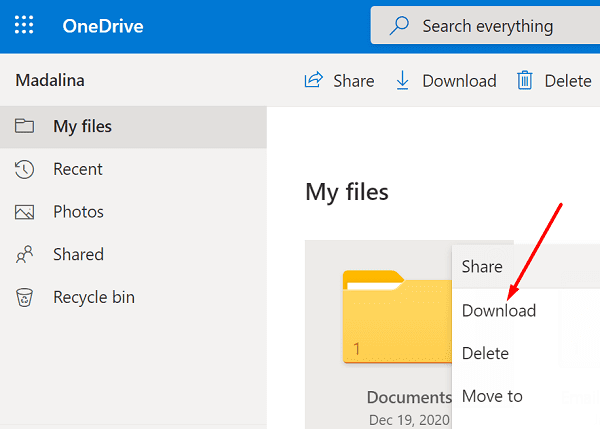 onedrive download documents