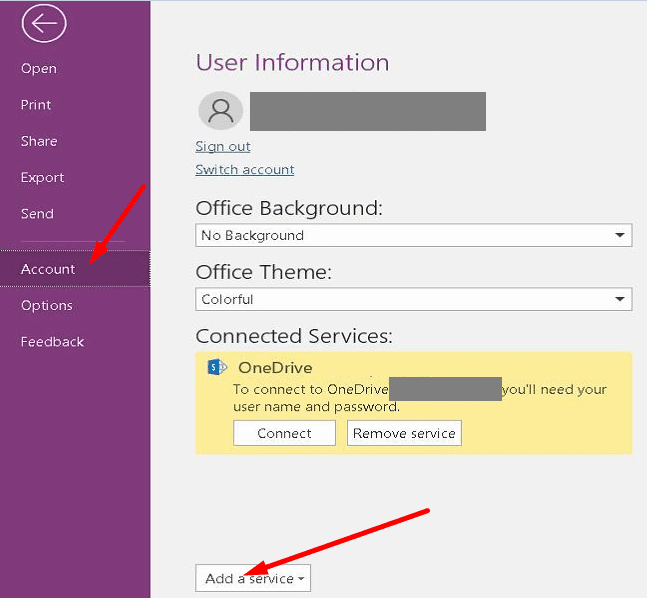 onenote add a connected service